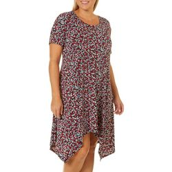 Grayson Plus Speckled Leaf Handkerchief Hem Dress