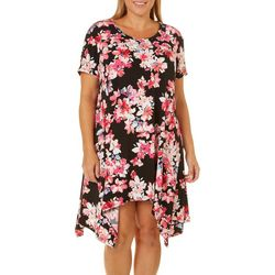 Grayson Plus Floral Print Handkerchief Hem Dress