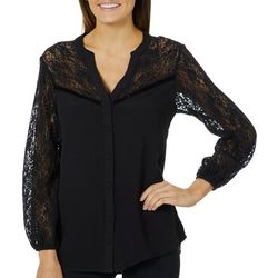 Democracy Womens Floral Lace Button Down Top