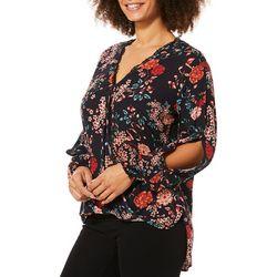 Democracy Womens Floral Crochet Faux-Wrap Top