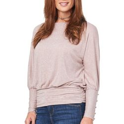 Democracy Womens Button Sleeve Shimmer Top