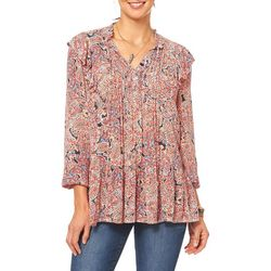 Democracy Womens Paisley Print Tie Neck Ruffle Top