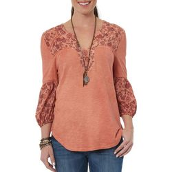Democracy Womens Heathered Floral Notch Neck Top