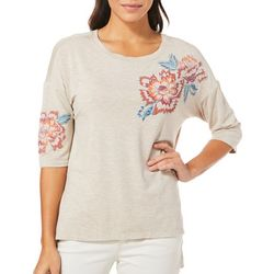 Democracy Womens Heathered Floral Top