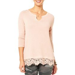 Democracy Womens Solid Lace Split Neck Top