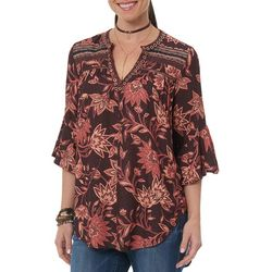 Democracy Womens Floral Print Grommet Neck Top