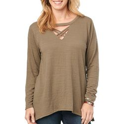 Democracy Womens Latice Neck Long Sleeve Top