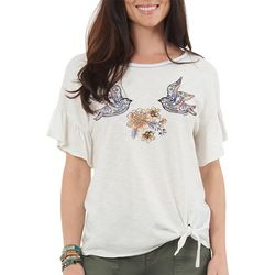 Democracy Womens Floral Bird Tie Front Top