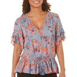 Democracy Womens Ruffled Floral Tassel Tie Top