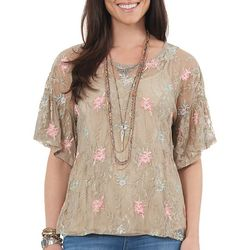 Democracy Womens Floral Lace Bell Sleeve Top
