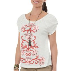 Democracy Womens Dotted Floral Top