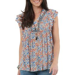 Democracy Womens Floral Print Ruffle Sleeve Top