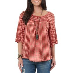 Democracy Womens Frayed Gingham Top