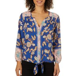 Democracy Womens Mixed Floral Tie Front Top