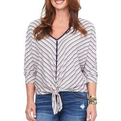 Democracy Womens Chevron Striped Tie Front Top