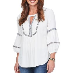 Democracy Womens Embroidered Balloon Sleeve Keyhole Top