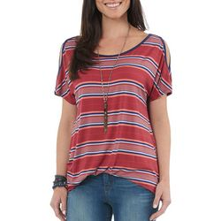 Democracy Womens Striped Slit Sleeve Top