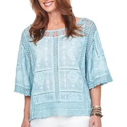 Democracy Womens Embroidered Crochet Top
