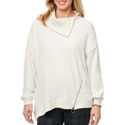 Democracy Womens Asymmetrical Zip Hem Sweater