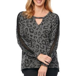 Democracy Womens Leopard Print Crochet Long Sleeve Sweater