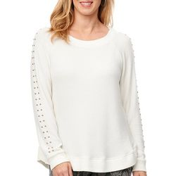 Democracy Womens Studded Sleeve Surplus Sweater