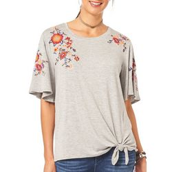 Democracy Womens Embroidered Floral Tie Front Top