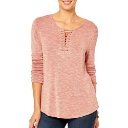 Democracy Womens Heathered Lace-Up Top
