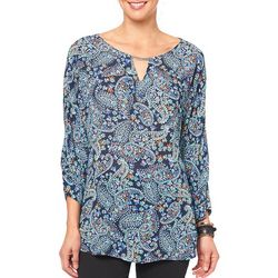 Democracy Womens Floral Paisley Bar Neck Top
