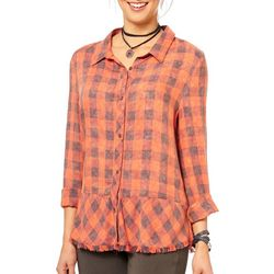 Democracy Womens Frayed Plaid Button Down Top