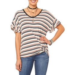 Democracy Womens Striped Side Knot Top