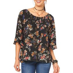 Democracy Womens Smocked Floral Print Top