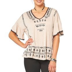 Democracy Womens Boho Faux Embroidery Top
