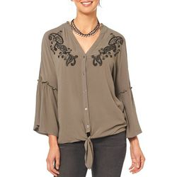 Democracy Womens Embroidered Tie Front Button Up Top
