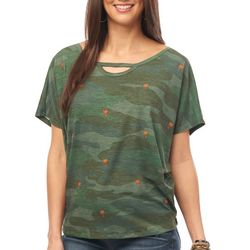 Democracy Womens Embroidered Palm Tree Camo Keyhole Top