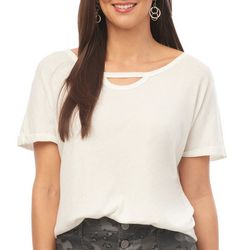 Democracy Womens Solid Short Sleeve Keyhole Neck Top
