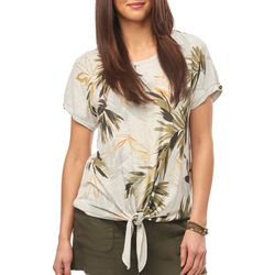 Democracy Womens Tropical Leaf Print Tie Front Top
