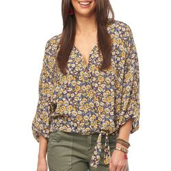 Democracy Womens Floral Print Surplice Tie Front Top