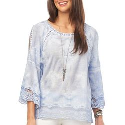 Democracy Womens Solid Embroidered Crochet Top
