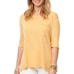 Democracy Womens Solid Elbow Sleeve Round Neck Top