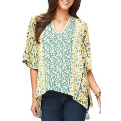 Democracy Womens Floral Ruffle Sleeve Tassel Top