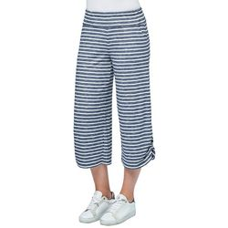 Democracy Womens Striped Ruched Ankle Capris