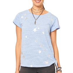 Democracy Womens Star Print Side Tie Short Sleeve Top