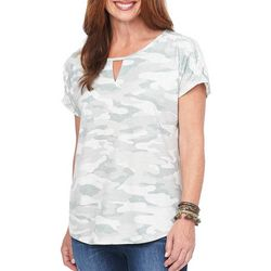 Democracy Womens Camo Print Keyhole Top