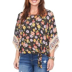 Democracy Womens Boho Floral Print Tie Front Top