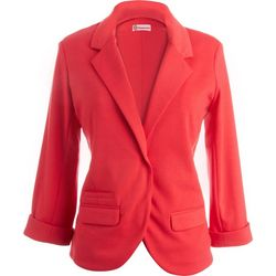 Democracy Womens Solid Cropped Long Sleeve Jacket