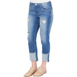 Democracy Womens Flexellent Destructed Hem Ankle Jeans
