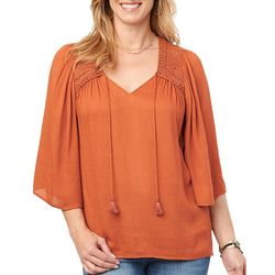 Democracy Womens Solid Crochet Detail Tassel Top