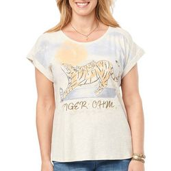 Democracy Womens Tiger Screen Print Short Sleeve Top