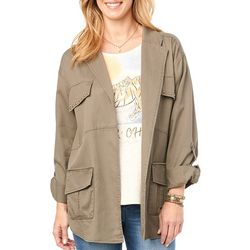 Democracy Womens Solid Studded Patch Pocket Jacket