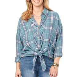 Democracy Womens Plaid Print Button Down Tie Front Top